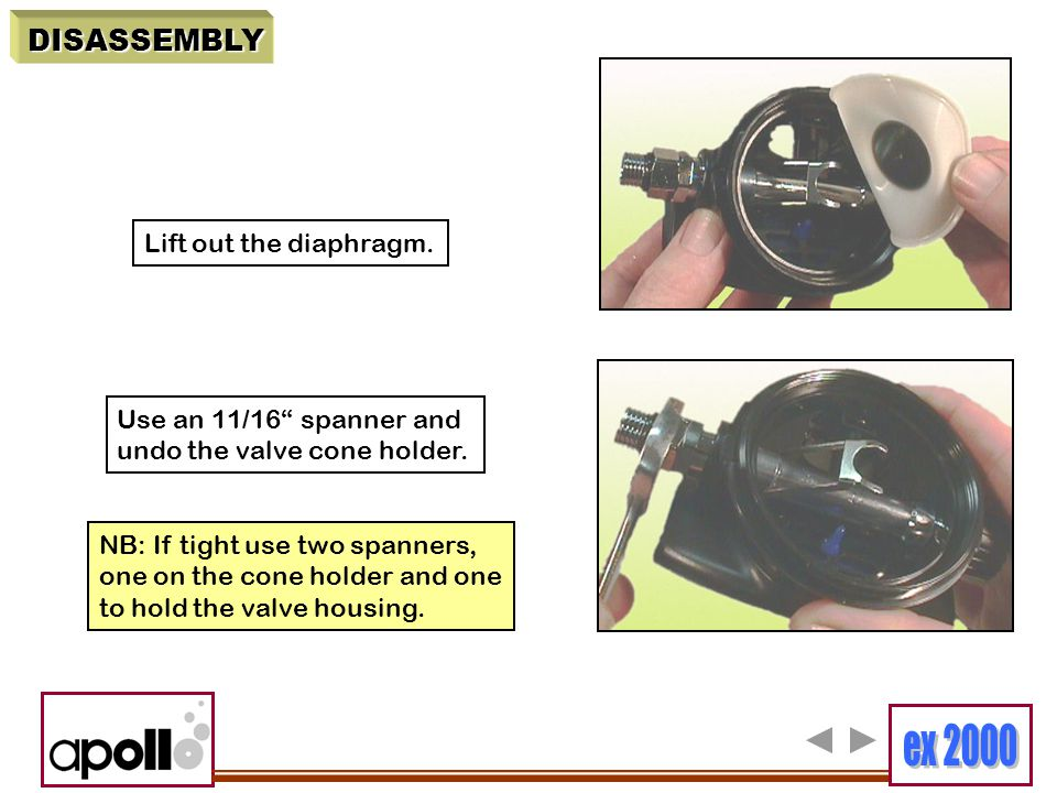 """Lift out the diaphragm. Use an 11/16"""" spanner and undo the valve cone holder. NB: If tight use two spanners, one on the cone holder and one to hold th"""