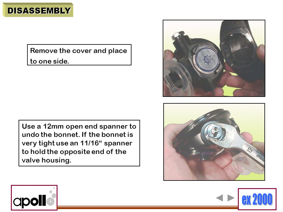 """DISASSEMBLY Remove the cover and place to one side. Use a 12mm open end spanner to undo the bonnet. If the bonnet is very tight use an 11/16"""" spanner"""