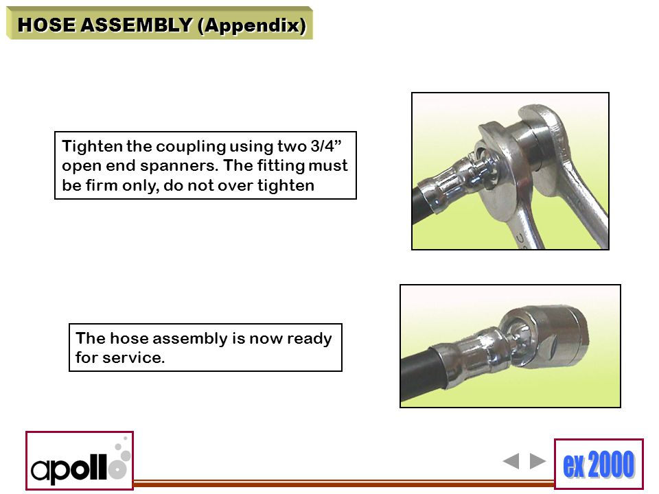 """HOSE ASSEMBLY (Appendix) Tighten the coupling using two 3/4"""" open end spanners. The fitting must be firm only, do not over tighten The hose assembly i"""