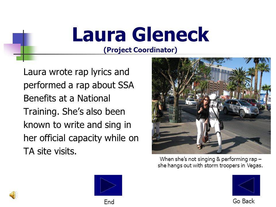 See which NDI Team member matches the statement Sings & writes rap lyrics as part of her day job.