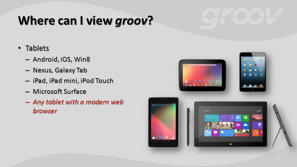 Where can I view groov.