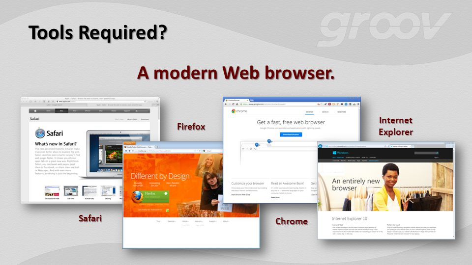 Tools Required A modern Web browser. Safari Chrome Firefox Internet Explorer