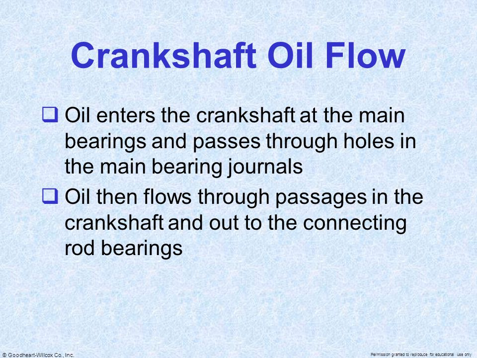 © Goodheart-Willcox Co., Inc. Permission granted to reproduce for educational use only Crankshaft Oil Flow  Oil enters the crankshaft at the main bea