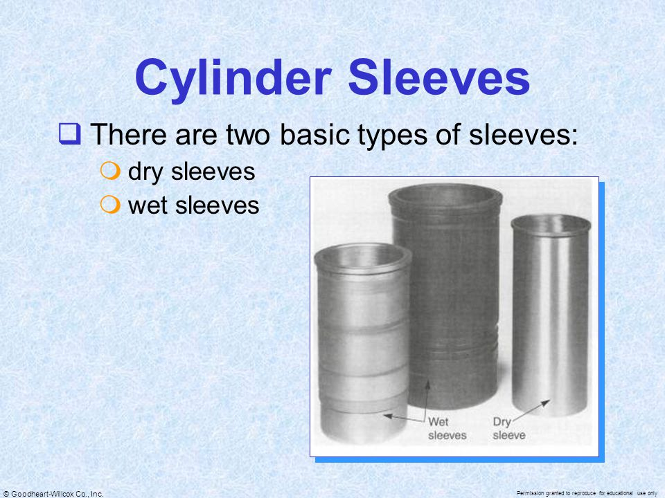 © Goodheart-Willcox Co., Inc. Permission granted to reproduce for educational use only Cylinder Sleeves  There are two basic types of sleeves:  dry