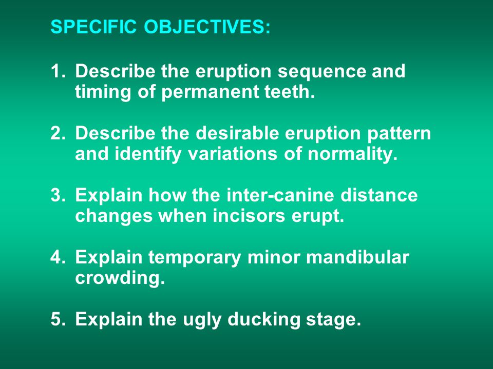 SPECIFIC OBJECTIVES: 1.Describe the eruption sequence and timing of permanent teeth.