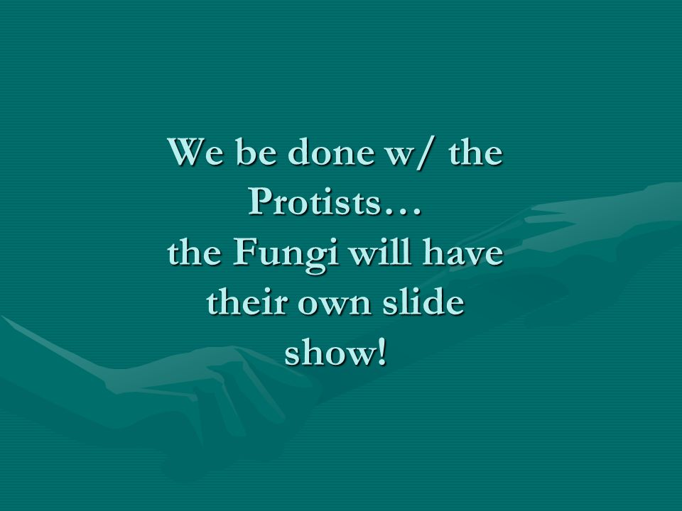 We be done w/ the Protists… the Fungi will have their own slide show!