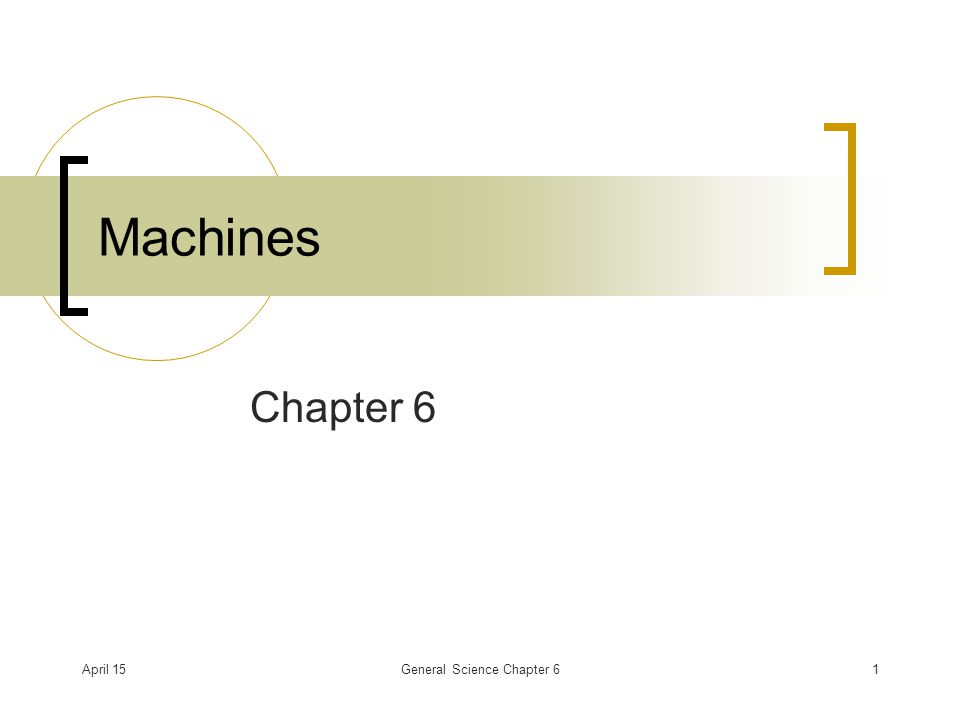 April 15General Science Chapter 61 Machines Chapter 6