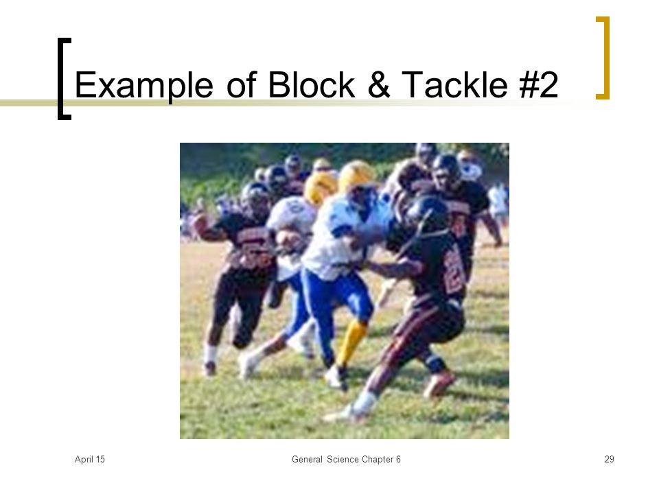 April 15General Science Chapter 629 Example of Block & Tackle #2