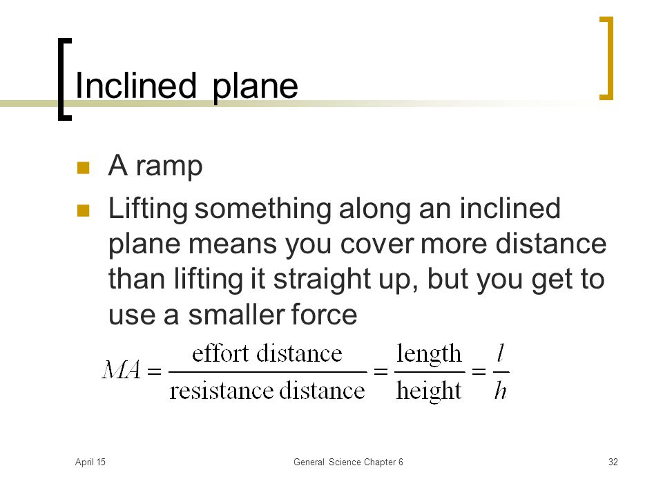 April 15General Science Chapter 632 Inclined plane A ramp Lifting something along an inclined plane means you cover more distance than lifting it stra