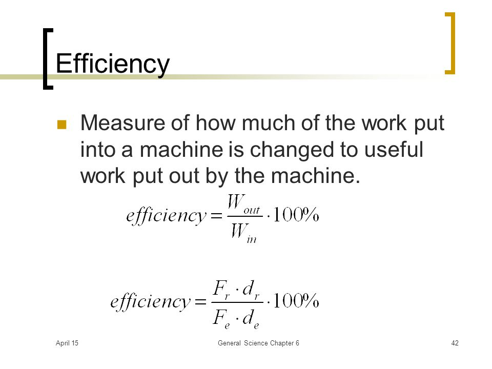April 15General Science Chapter 642 Efficiency Measure of how much of the work put into a machine is changed to useful work put out by the machine.