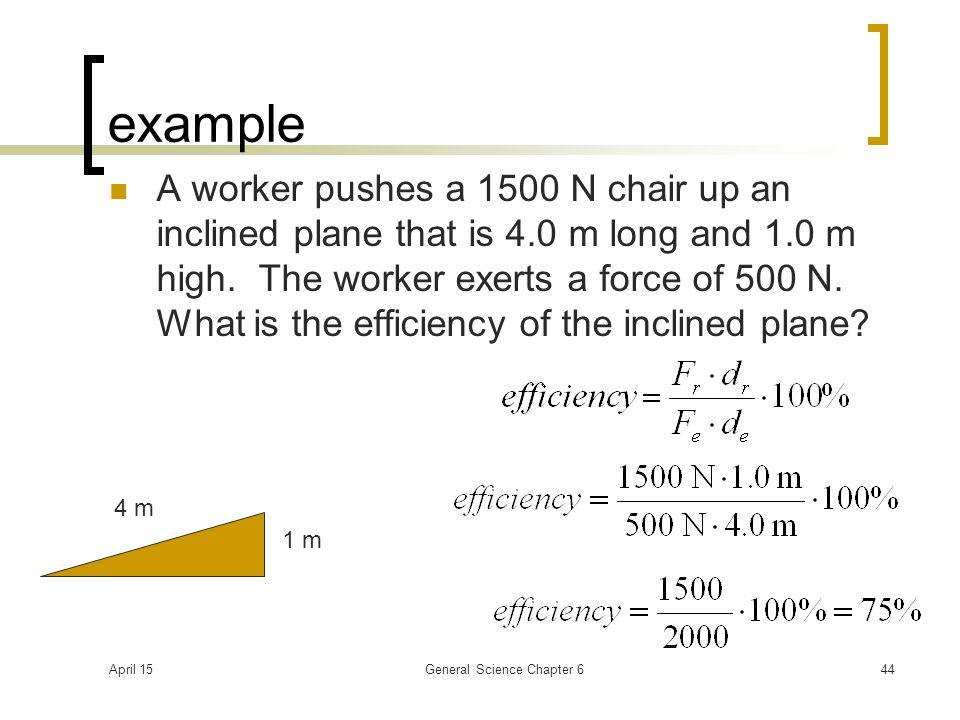 April 15General Science Chapter 644 example A worker pushes a 1500 N chair up an inclined plane that is 4.0 m long and 1.0 m high. The worker exerts a
