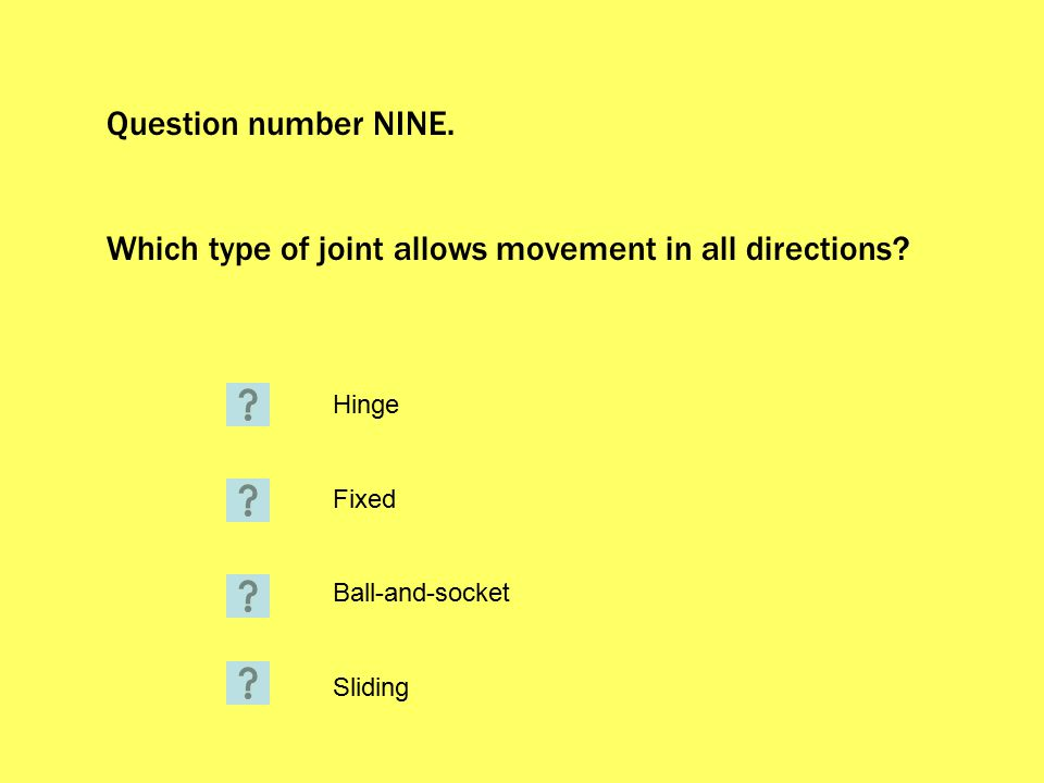 Question number NINE. Which type of joint allows movement in all directions.