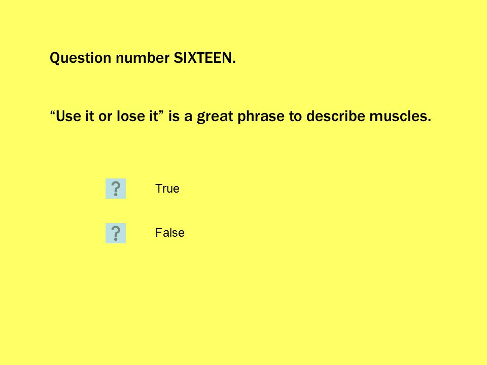 Question number SIXTEEN. Use it or lose it is a great phrase to describe muscles. True False