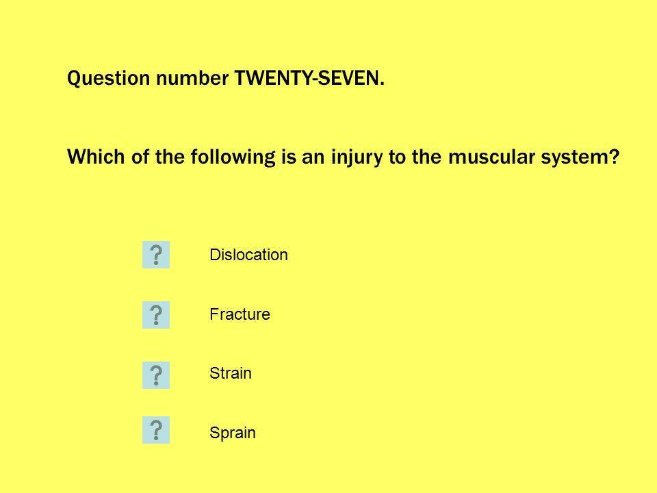 Question number TWENTY-SEVEN. Which of the following is an injury to the muscular system.
