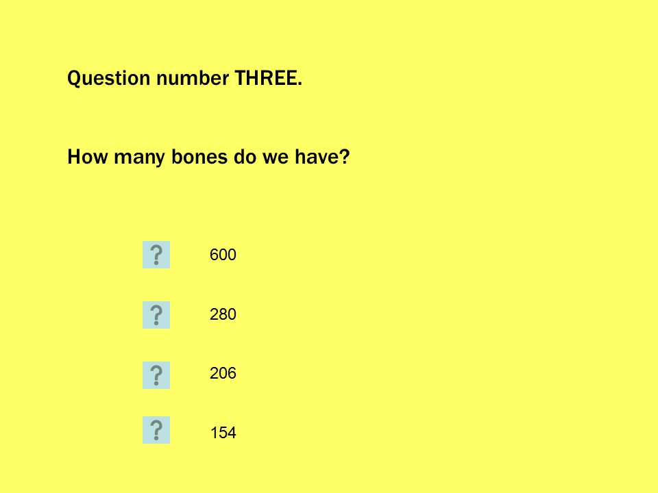 Question number THREE. How many bones do we have? 600 280 206 154