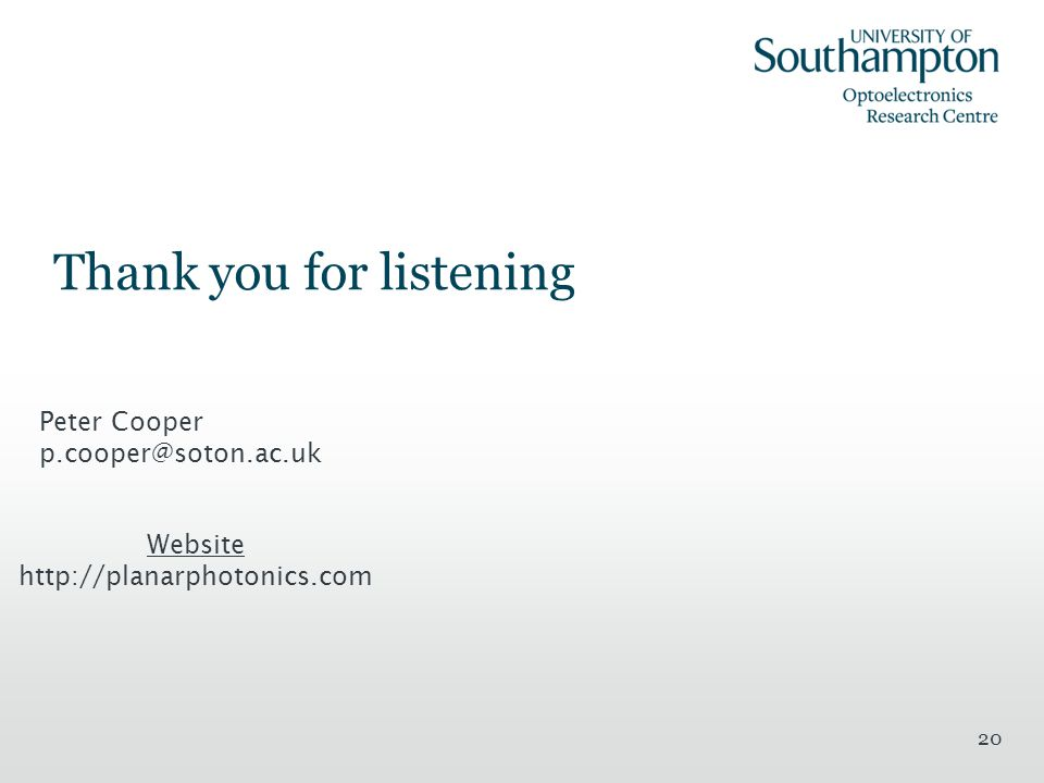 Thank you for listening 20 Website http://planarphotonics.com Peter Cooper p.cooper@soton.ac.uk