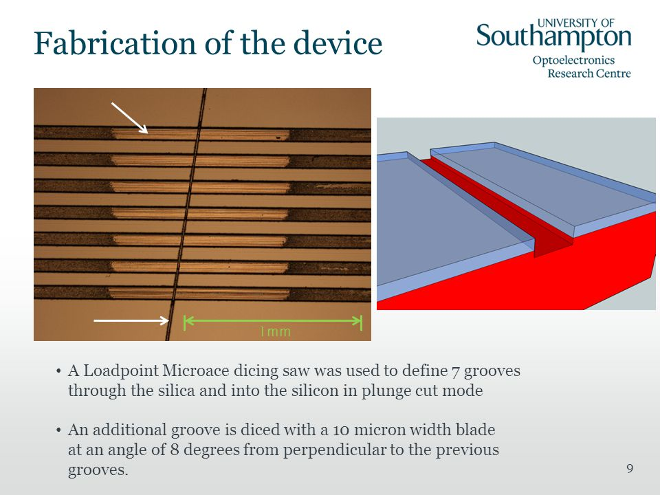 9 Fabrication of the device A Loadpoint Microace dicing saw was used to define 7 grooves through the silica and into the silicon in plunge cut mode An additional groove is diced with a 10 micron width blade at an angle of 8 degrees from perpendicular to the previous grooves.
