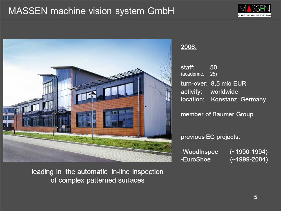 5 leading in the automatic in-line inspection of complex patterned surfaces 2006: staff: 50 (academic: 25) turn-over: 8,5 mio EUR activity: worldwide location: Konstanz, Germany member of Baumer Group previous EC projects: -WoodInspec (~1990-1994) -EuroShoe (~1999-2004) MASSEN machine vision system GmbH