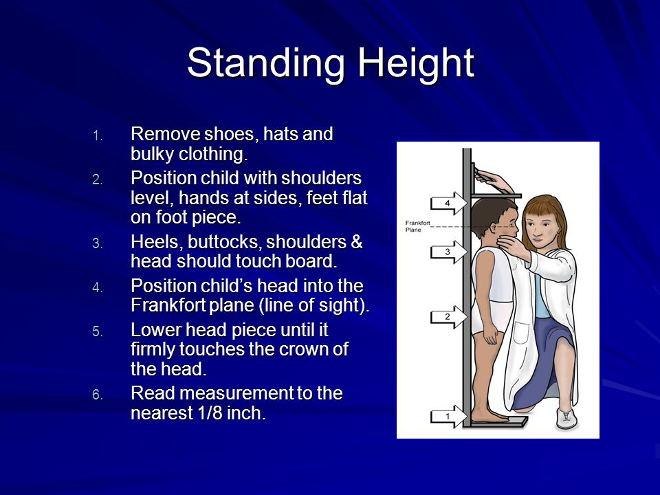 Standing Height 1. Remove shoes, hats and bulky clothing.