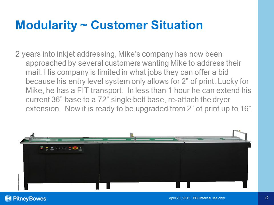 April 23, 2015 PBI Internal use only 12 Modularity ~ Customer Situation 2 years into inkjet addressing, Mike's company has now been approached by several customers wanting Mike to address their mail.