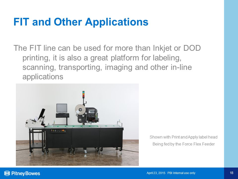 April 23, 2015 PBI Internal use only 18 FIT and Other Applications The FIT line can be used for more than Inkjet or DOD printing, it is also a great p