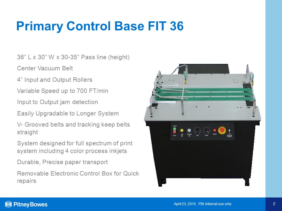 April 23, 2015 PBI Internal use only 2 Primary Control Base FIT 36 36 L x 30 W x 30-35 Pass line (height) Center Vacuum Belt 4 Input and Output Rollers Variable Speed up to 700 FT/min Input to Output jam detection Easily Upgradable to Longer System V- Grooved belts and tracking keep belts straight System designed for full spectrum of print system including 4 color process inkjets Durable, Precise paper transport Removable Electronic Control Box for Quick repairs
