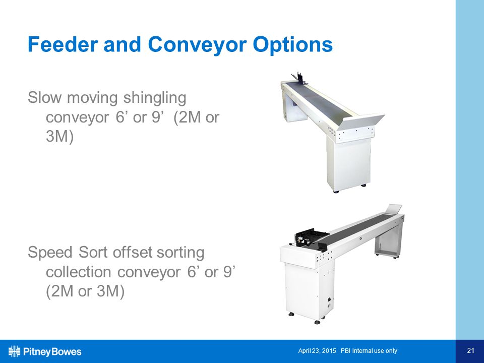 April 23, 2015 PBI Internal use only 21 Feeder and Conveyor Options Slow moving shingling conveyor 6' or 9' (2M or 3M) Speed Sort offset sorting collection conveyor 6' or 9' (2M or 3M)