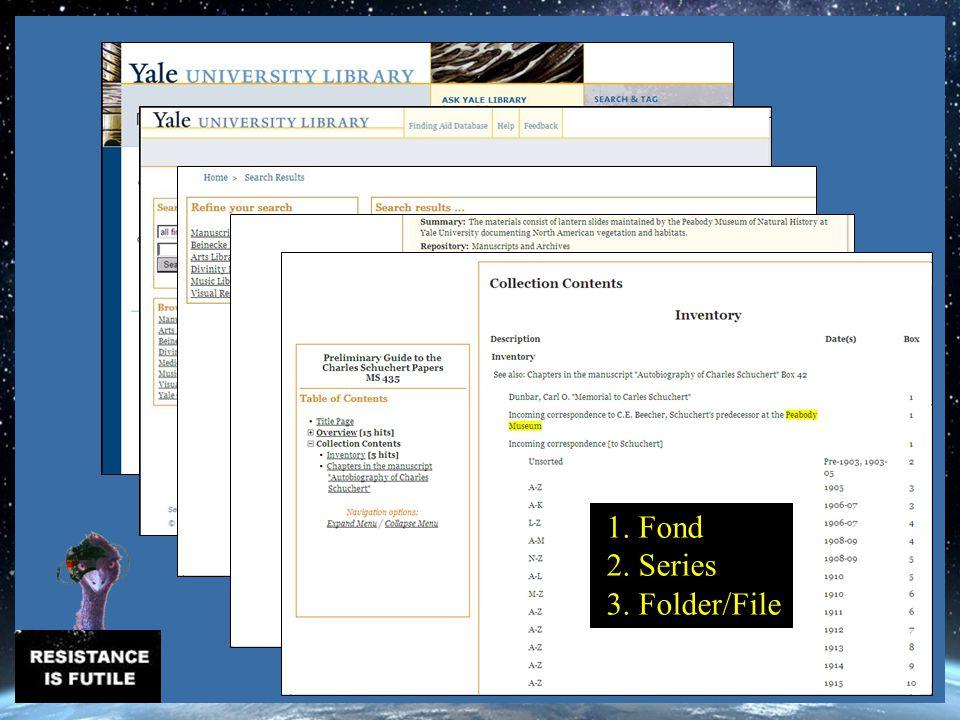 1. Fond 2. Series 3. Folder/File