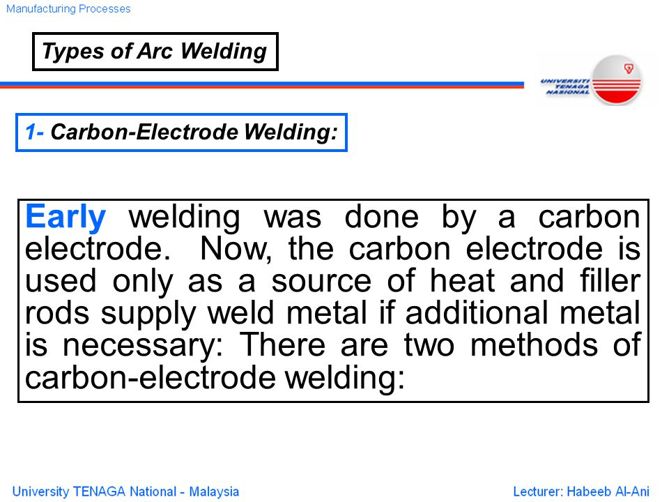 Types of Arc Welding 1- Carbon-Electrode Welding: Early welding was done by a carbon electrode.
