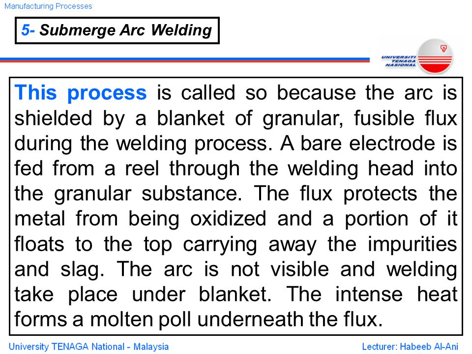 5- Submerge Arc Welding This process is called so because the arc is shielded by a blanket of granular, fusible flux during the welding process.
