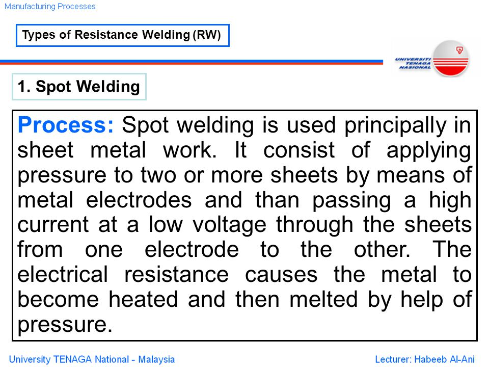 Types of Resistance Welding (RW) 1.Spot Welding Process: Spot welding is used principally in sheet metal work.