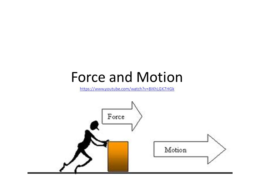 Force and Motion https://www.youtube.com/watch?v=8iKhLGK7HGk https://www.youtube.com/watch?v=8iKhLGK7HGk