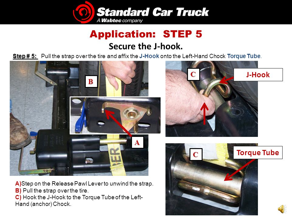 Step # 4: Step # 4: Repeat steps 1, 2 and 3 to secure the Right-hand chock to the railcar tie-down track.