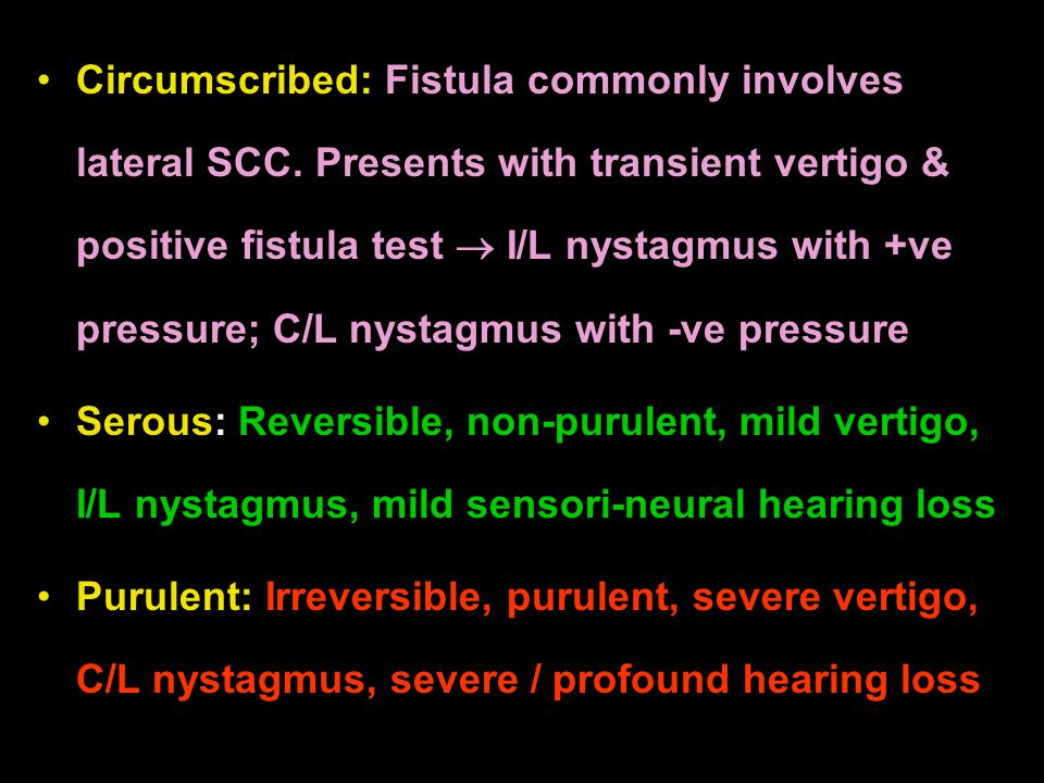 Circumscribed: Fistula commonly involves lateral SCC. Presents with transient vertigo & positive fistula test  I/L nystagmus with +ve pressure; C/L n