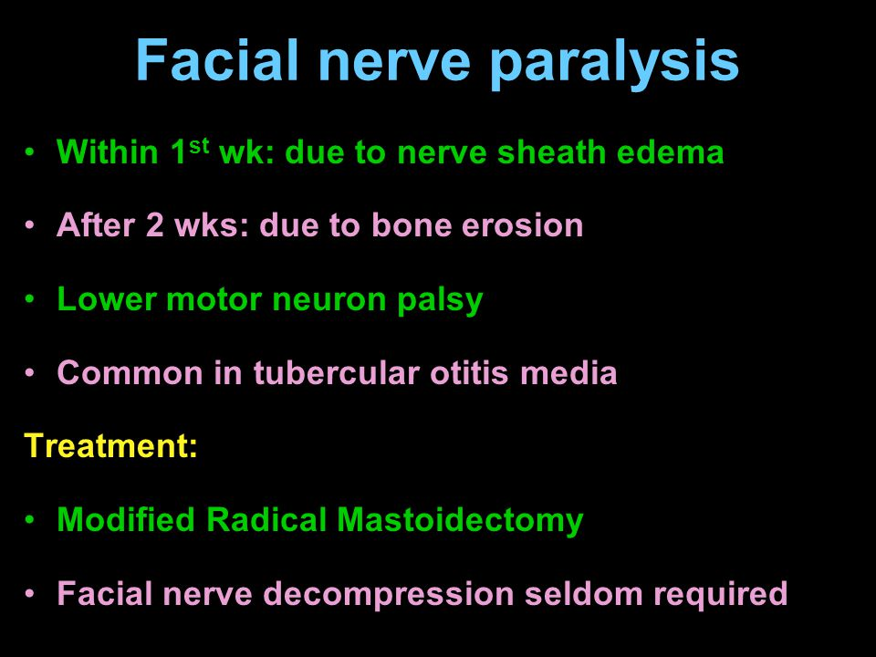 Facial nerve paralysis Within 1 st wk: due to nerve sheath edema After 2 wks: due to bone erosion Lower motor neuron palsy Common in tubercular otitis