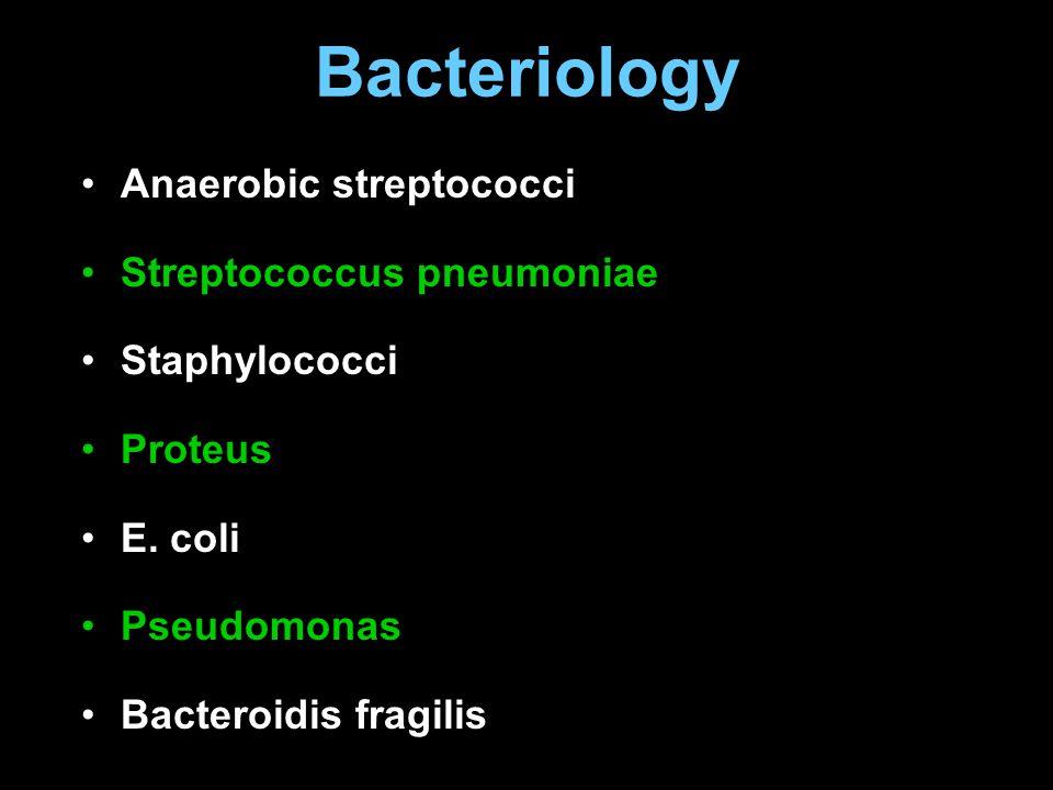 Bacteriology Anaerobic streptococci Streptococcus pneumoniae Staphylococci Proteus E. coli Pseudomonas Bacteroidis fragilis