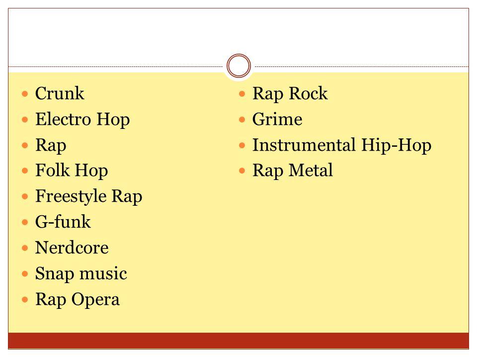 Crunk Electro Hop Rap Folk Hop Freestyle Rap G-funk Nerdcore Snap music Rap Opera Rap Rock Grime Instrumental Hip-Hop Rap Metal