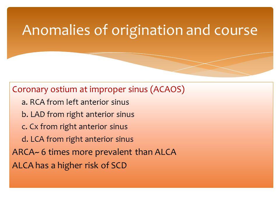 Coronary ostium at improper sinus (ACAOS) a.RCA from left anterior sinus b.