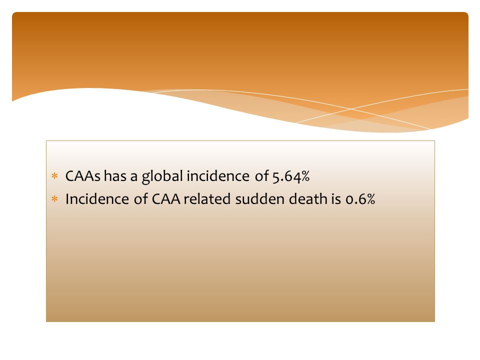  CAAs has a global incidence of 5.64%  Incidence of CAA related sudden death is 0.6%