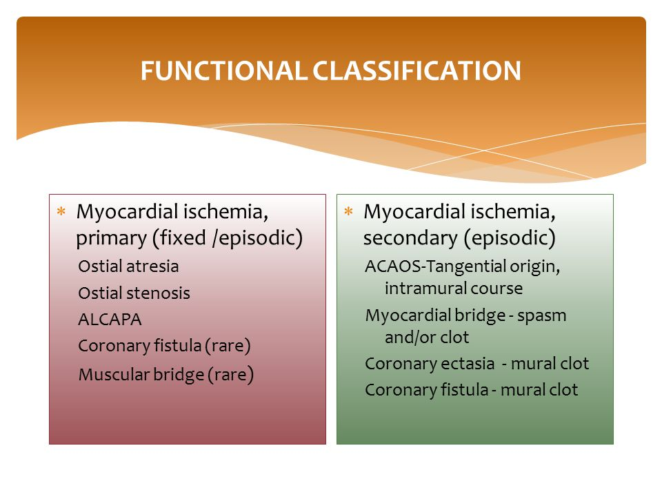 FUNCTIONAL CLASSIFICATION  Myocardial ischemia, primary (fixed /episodic) Ostial atresia Ostial stenosis ALCAPA Coronary fistula (rare) Muscular bridge (rare )  Myocardial ischemia, secondary (episodic) ACAOS-Tangential origin, intramural course Myocardial bridge - spasm and/or clot Coronary ectasia - mural clot Coronary fistula - mural clot