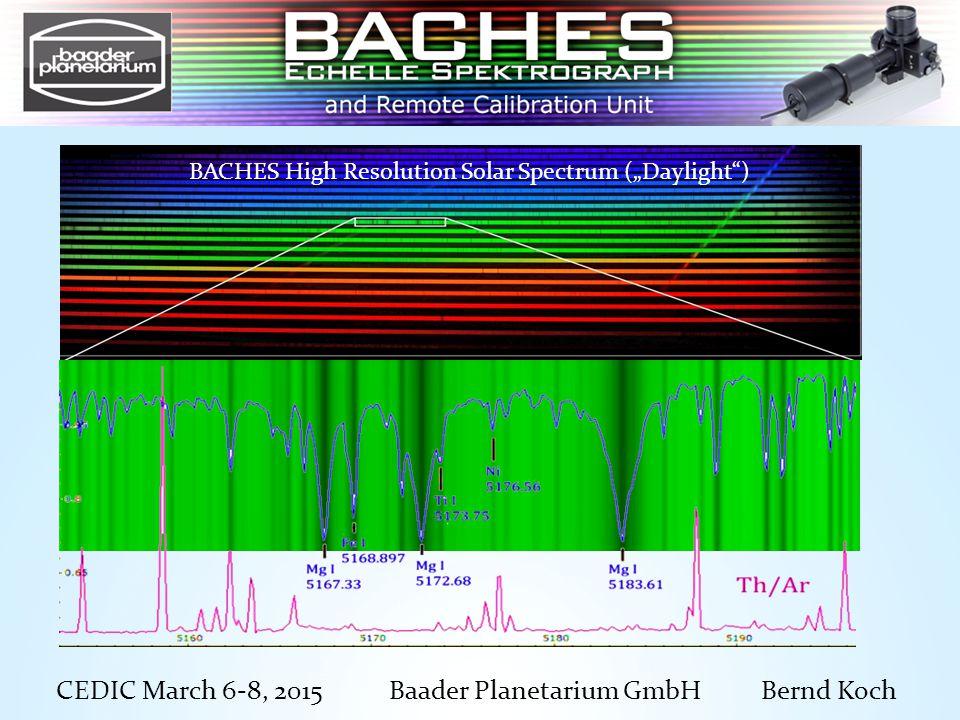 "CEDIC March 6-8, 2015 Baader Planetarium GmbH Bernd Koch BACHES High Resolution Solar Spectrum (""Daylight )"