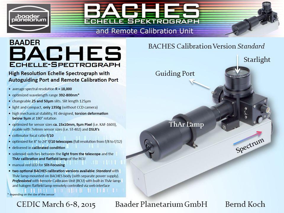 CEDIC March 6-8, 2015 Baader Planetarium GmbH Bernd Koch ThAr Lamp Guiding Port Spectrum Starlight BACHES Calibration Version Standard