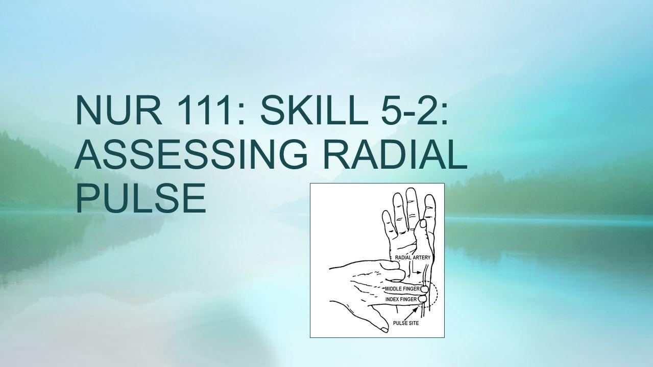 NUR 111: SKILL 5-2: ASSESSING RADIAL PULSE