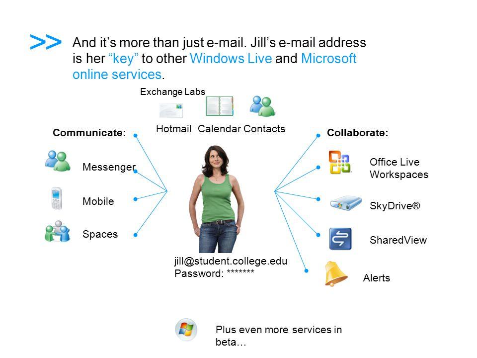 Exchange Labs and Live @ edu Integrated into Windows Live @ edu program Exchange vs.