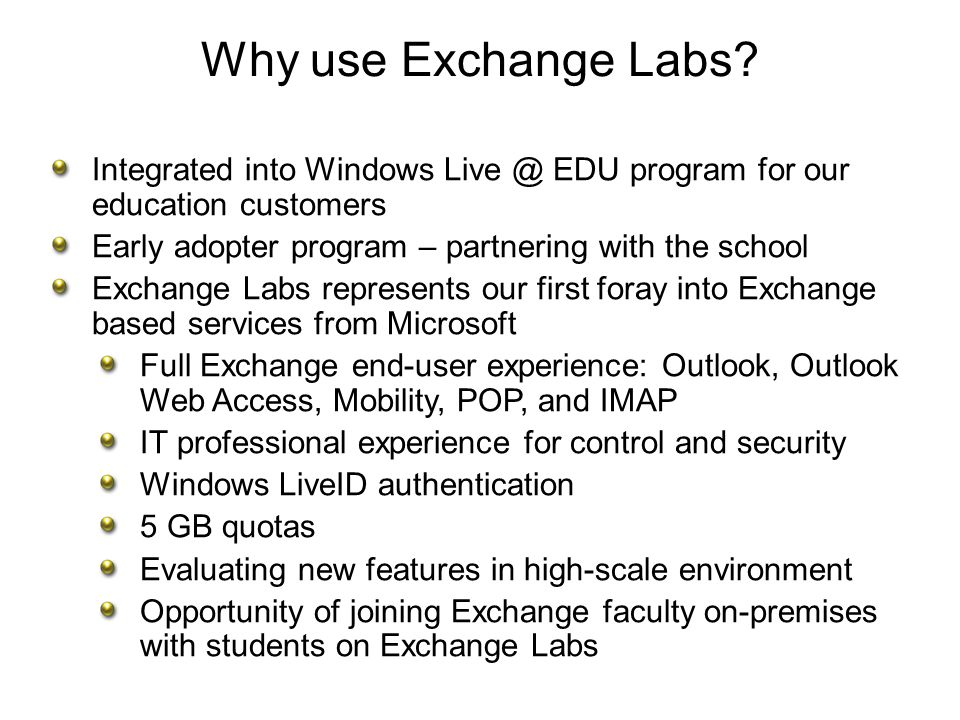 OWA Experience for Exchange Labs