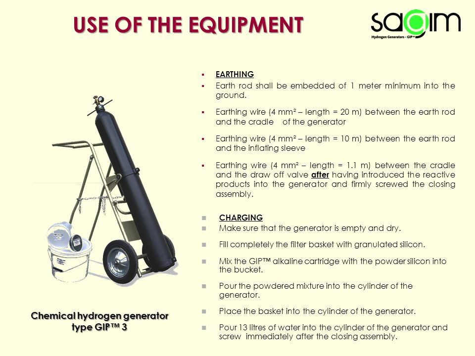 USE OF THE EQUIPMENT  EARTHING  Earth rod shall be embedded of 1 meter minimum into the ground.