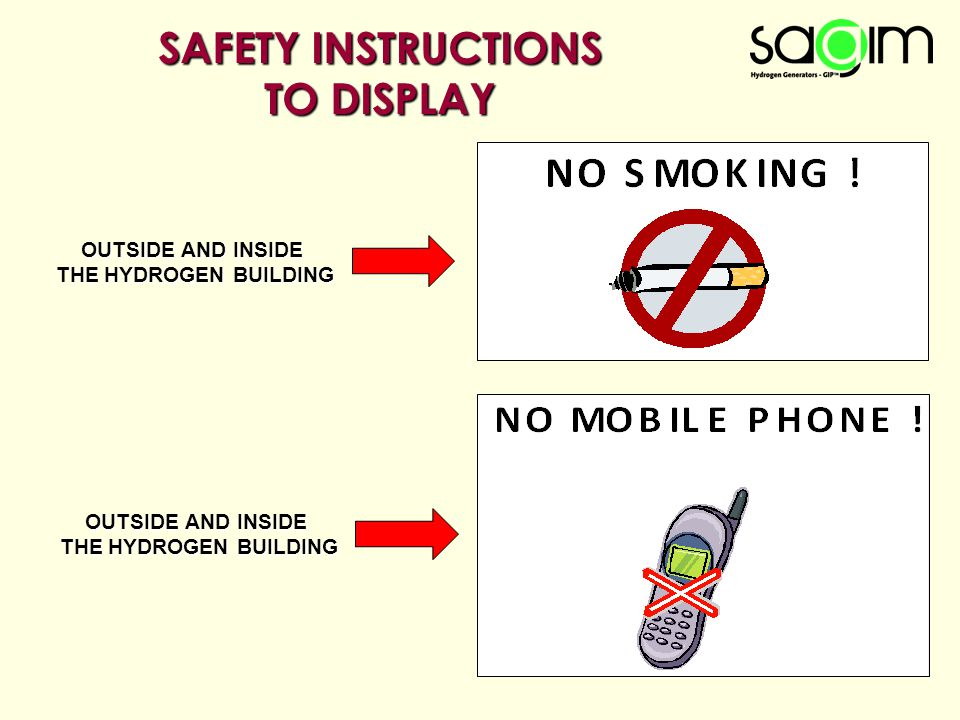 SAFETY INSTRUCTIONS TO DISPLAY OUTSIDE AND INSIDE THE HYDROGEN BUILDING OUTSIDE AND INSIDE THE HYDROGEN BUILDING