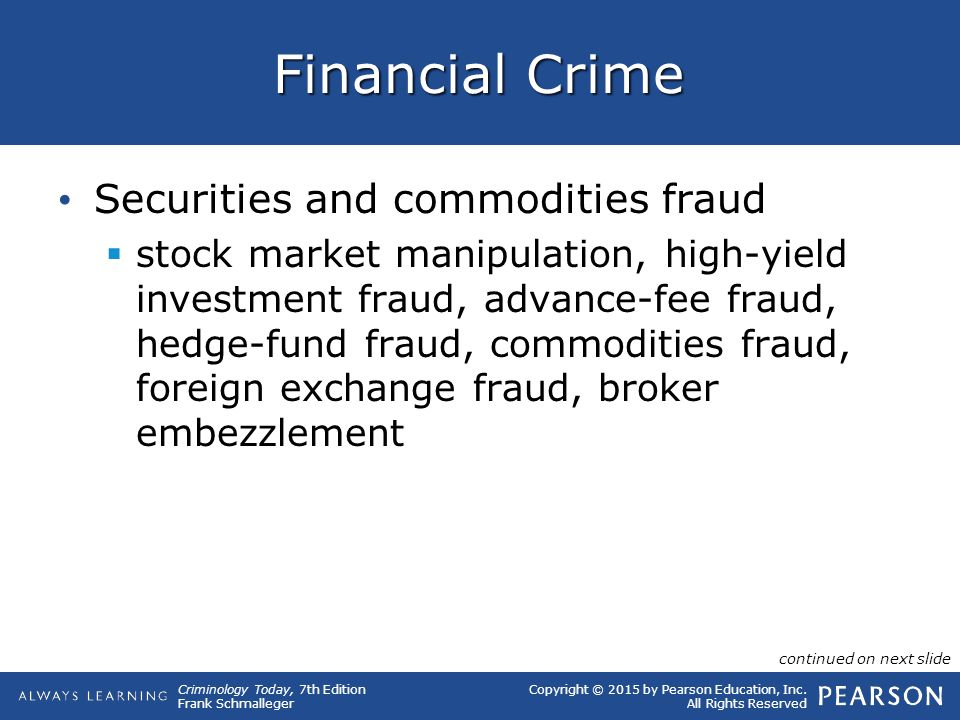 Copyright © 2015 by Pearson Education, Inc. All Rights Reserved Criminology Today, 7th Edition Frank Schmalleger Financial Crime Securities and commod