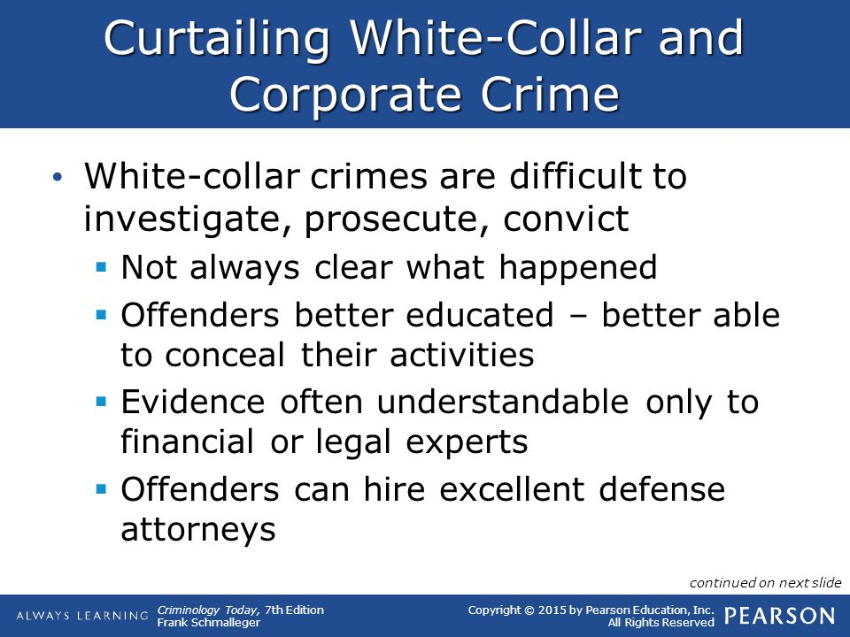 Copyright © 2015 by Pearson Education, Inc. All Rights Reserved Criminology Today, 7th Edition Frank Schmalleger Curtailing White-Collar and Corporate