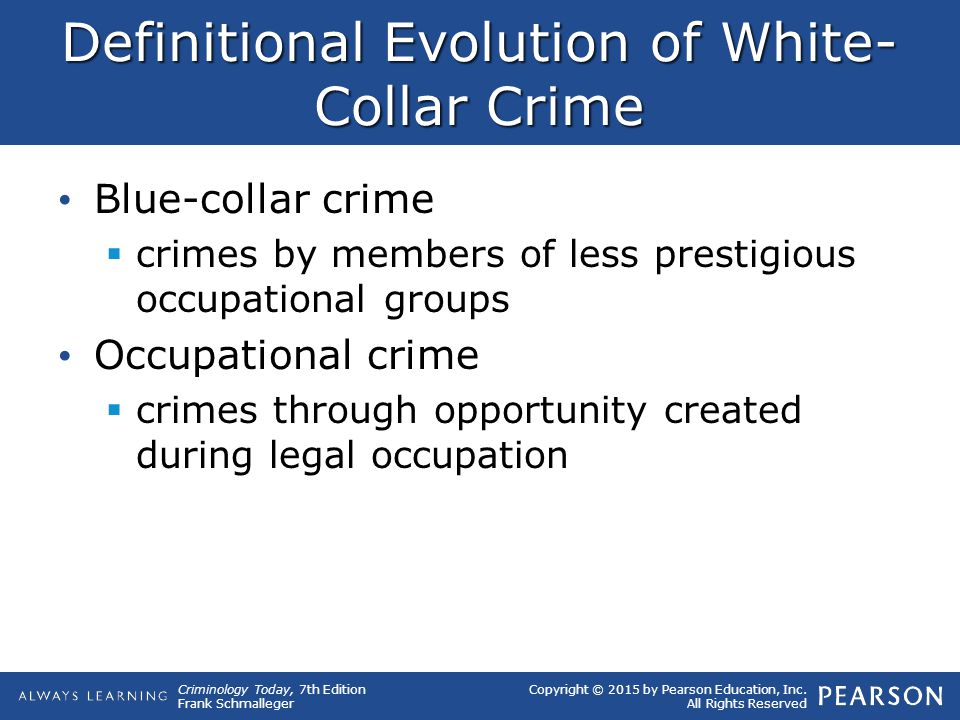 Copyright © 2015 by Pearson Education, Inc. All Rights Reserved Criminology Today, 7th Edition Frank Schmalleger Definitional Evolution of White- Coll